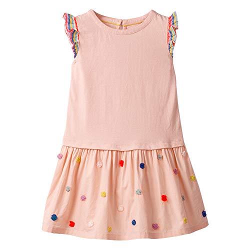 Girls Pink Jersey Dress - HILEELANG Toddler Girls Cotton Tank Dress Fly Sleeves Solid Ruffle Skirt School Casual Tunic Dress Pink
