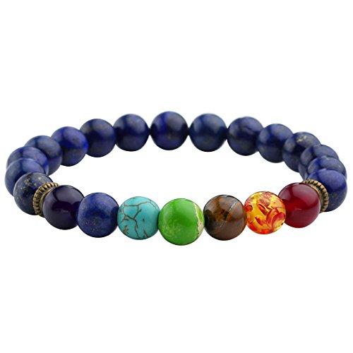 JOVIVI 7 Chakras Gemstone Bracelet 8mm Lave Rock Stones Yoga Reiki Prayer Stone - Pack of 5