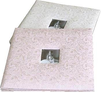 Wedding or Quinceanera European Brocade Cloth Cover Rose Design Memory Scrapbook Photo Album - WHITE (13.5