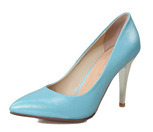 Solid Shoes Blue Toe Pu Women's Pumps Spikes Stilettos WeiPoot Closed qOFgfwnI