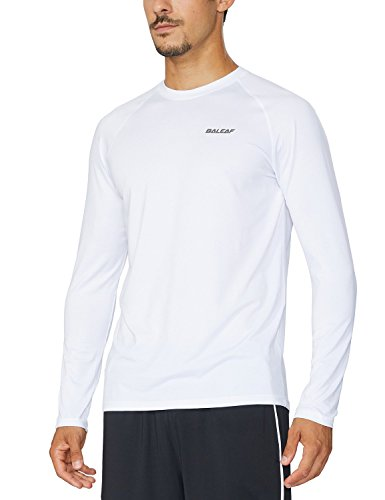 BALEAF Men's Long Sleeve Running Shirt Cool Workout Tee White Size M (Best Full Sleeve T Shirts Brands)
