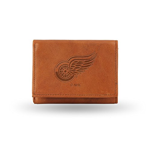 Rico Industries NHL Detroit Red Wings Embossed Leather Trifold Wallet, Tan ()