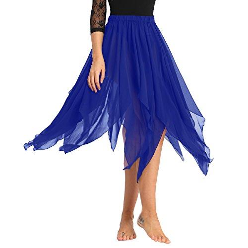 FEESHOW Womens Chiffon Hi-Low Long Dance Skirt Lyrical Dance Costumes Blue One Size]()