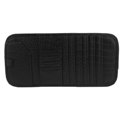 Water & Wood Vehicle Sun Visor Black Crocodile Print Faux Leather 7 CD DVD Storage Holder with Car Cleaning - Cd Leather Storage Faux