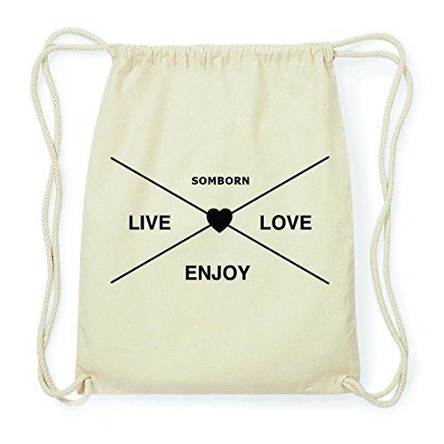 JOllify SOMBORN Hipster Turnbeutel Tasche Rucksack aus Baumwolle - Farbe: natur Design: Hipster Kreuz