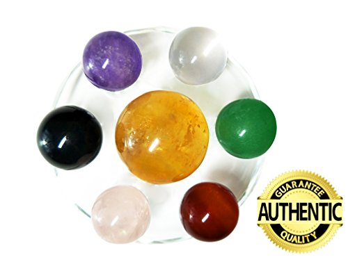 Set of 7 Crystal Balls Made of Yellow Calcite, Black Obsidian, Rose Quartz, Clear Quartz, Green Aventurine, Amethyst & Red Agate Spheres, With Seven Star Plate Stand, for Chakra Stones and (Quartz Crystal Sphere Ball Stand)
