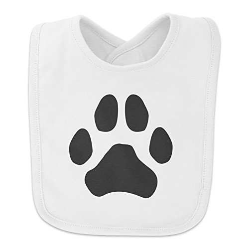 Paw Print Dog Cat White on Black Baby Bib - - Cat Black Bib