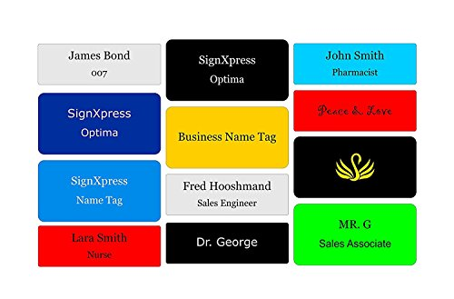 (Business Name Tag / ID Badge Personalized with Magnet- Customized Laser Engraved 3