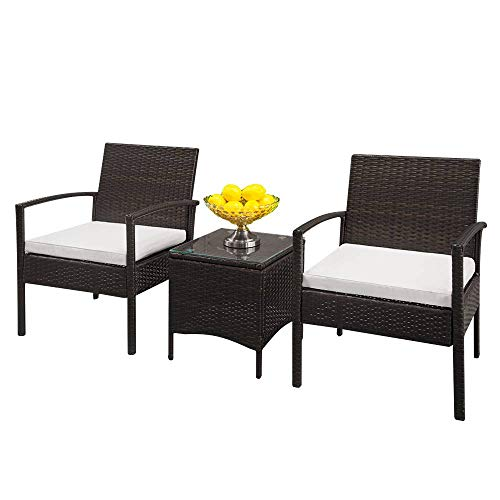 Binlin 3pcs Patio Porch Furniture Set 2 Rattan Chairs with Table Wicker Single Sofa with Cushion Seat and Chairside Coffee Table Garden Balcony Ottoman Furniture Sets