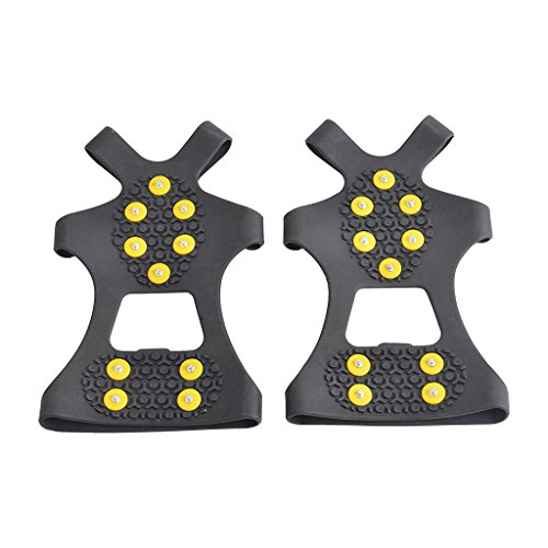 HYOUT Crampons Non-Slip Shoes Cover for Outdoor Ski Ice Snow Hiking Climbing (Set of 2)