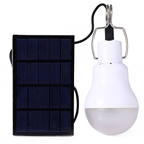 GreeSuit Solar Powered Led Light Bulb Portable Lantern Lamp Spotlight with Solar Panel for Outdoor Hiking Camping Tent Fishing Lighting