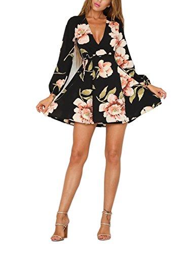 Long Sleeve Wrap Front Dress (FFLMYUHULIU Women's Sexy V-Neck Floral Print Vintage Long Sleeve Wrap Short Mini Dress (M, 012-Blackpink))