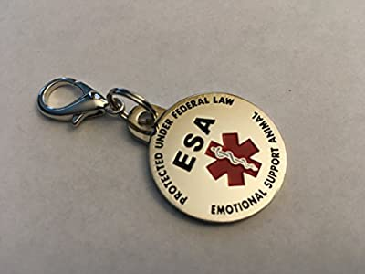 DOUBLE SIDED Emotional Support Animal (ESA) Red Medical Alert Symbol and Protected by Federal Law 1.25 inch ID Tag. QUICK RELEASE metal lobster clamp allowing you to switch between collars and vest.