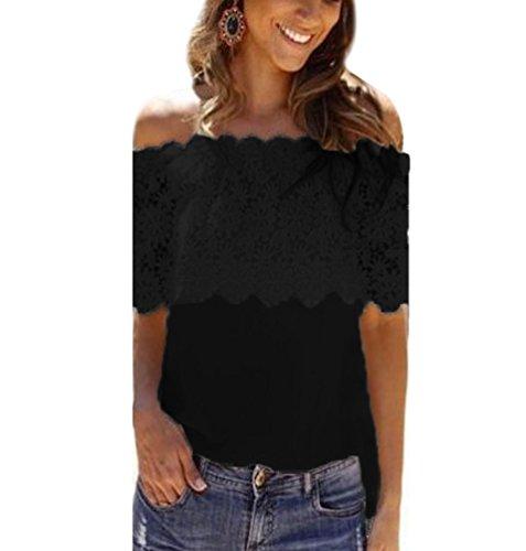 Blusas Manga Corta Encaje Fuera del Hombro Blusa Gasa Fiesta Camisas Mujer Camisetas Elegantes Dama Bonitas Blusas Top para Señoras Blusones Anchas Camiseta Casual Lindas Negro