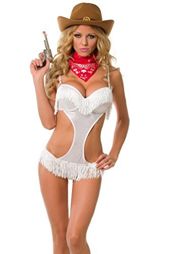 Velvet Kitten Cowgirl Cutie Sexy Costume White Lingerie Set 3161 in Medium (Sexy Cowgirl Lingerie)