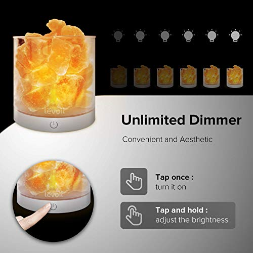 Levoit Cora Himalayan Salt Lamp, Natural Hymalain Pink Salt Rock Lamps, USB Himilian Sea Salt Crystal Night Light with Touch Dimmer Switch,3 Bulbs,UL-Listed Cord & Luxury Gift Box by LEVOIT (Image #5)