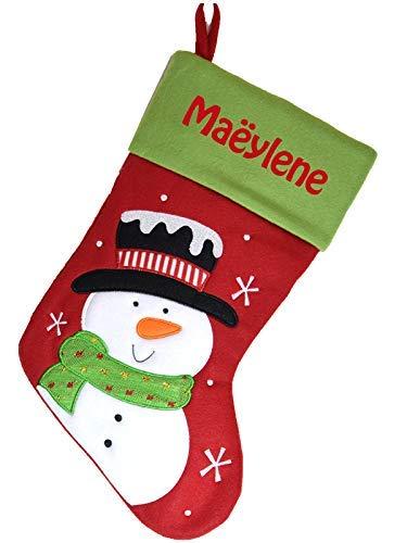 Chaussette de Noël à personnaliser motif Bonhomme de Neige Botte de Noël à personnaliser