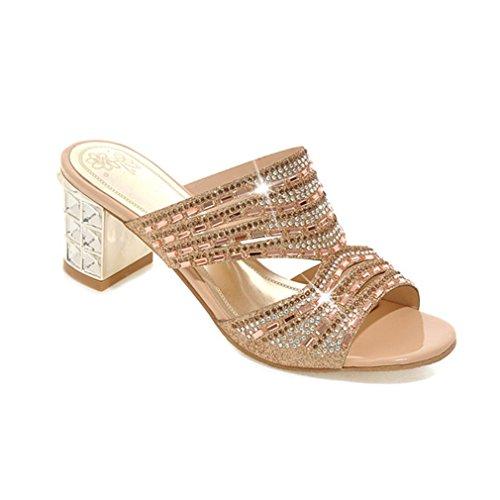 pantoufles femmes pantoufles Gold Toe Femmes diapositives hauts strass Lumino talons Open q8fUWzw5w