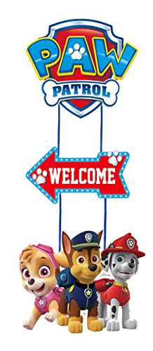 Paw Patrol Birthday Welcome Poster Door Decoration Wall Poster Party Supplies