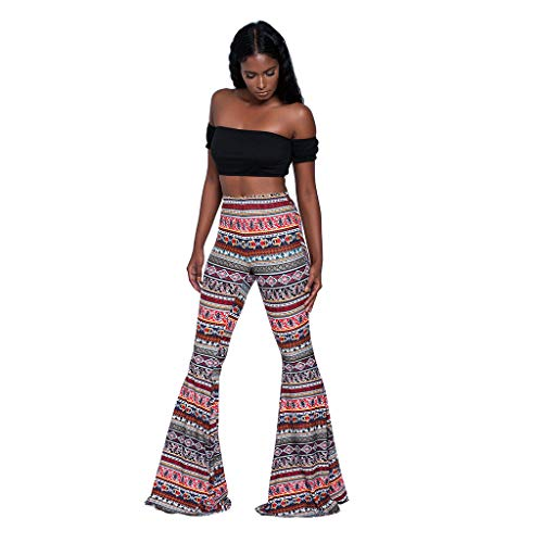 Willow S Women's Trousers High Waist Casual Tight Bell Bottom Pants Wide Leg Flared -