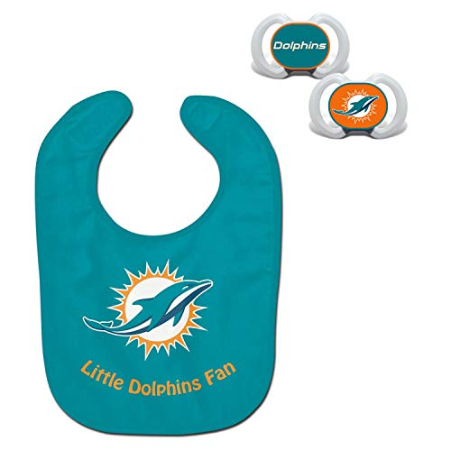 (Official NFL Fan Shop Authentic Baby Pacifier and Bib Bundle Set. Start Out Early in Joining The Fan Club and Show Support for Your Favorite Football Team (Miami Dolphins))