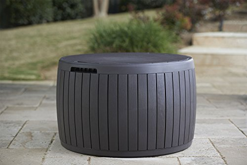 Keter 37 Gallon Circa Natural Wood Style Round Outdoor