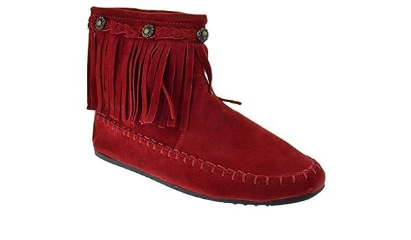 Katherine 05 Fringe Moccasin Ankle Boots Red