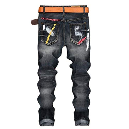 Denim Alsbild Con Ragazzo Pantaloni Jeans In Fit Casual Slim Uomo Clubwear Dritti Risvolto PaOq7w