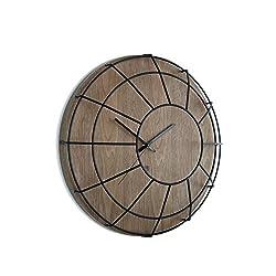 Umbra Cage Wall Clock, Walnut/Black