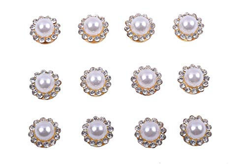 KAOYOO 100Pcs Sun Flower Shape Crystal Pearl Buttons Golden Plated Brass Base Sew on Buttons Ideal for Clothing, Bags, Shoes, Headpieces,Wedding Dress, Gift Card Decorations, Wedding Decorations ()