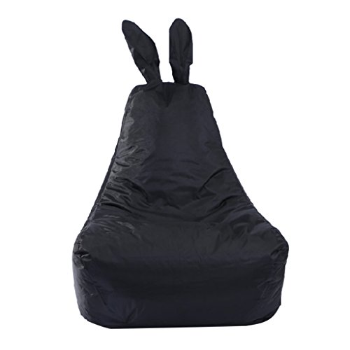 Homyl 608060cm Rabbit Shaped Backrest Stuffed Animal Storage Extra Large Bean Bag Cover 6 Styles Available - Black by Homyl