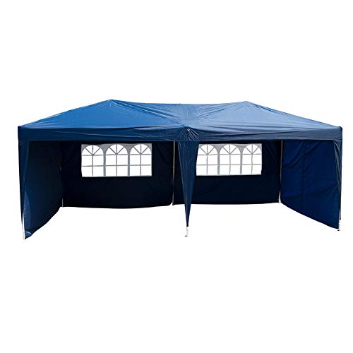 Polar Aurora 10 X 20 Easy Pop Up Canopy Party Tent Outdoor Patio Wedding Party Tent Folding Waterproof W 4 Removable Sidewalls And Portable Bag Blue