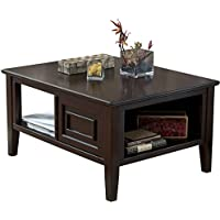 Ashley Furniture Signature Design - Larimer Coffee Table - Cocktail Height - Rectangular - Dark Brown