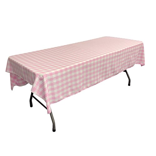 LA Linen Checkered Tablecloth, 60 by 102-Inch, Pink