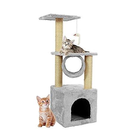 Bigbutterfly Árbol para Gato Rascador Poste para Gatos Juegos Escalada 90 cm Blanco lechoso: Amazon.es: Productos para mascotas