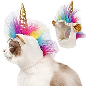Stock Show Cat Unicorn Hat Unicorn Costume for Small Dog Cat Puppy Novel Funny Adjustabale Cosplay Mane Hat Headgear for Halloween Festival Birthday Theme Party Photo Props