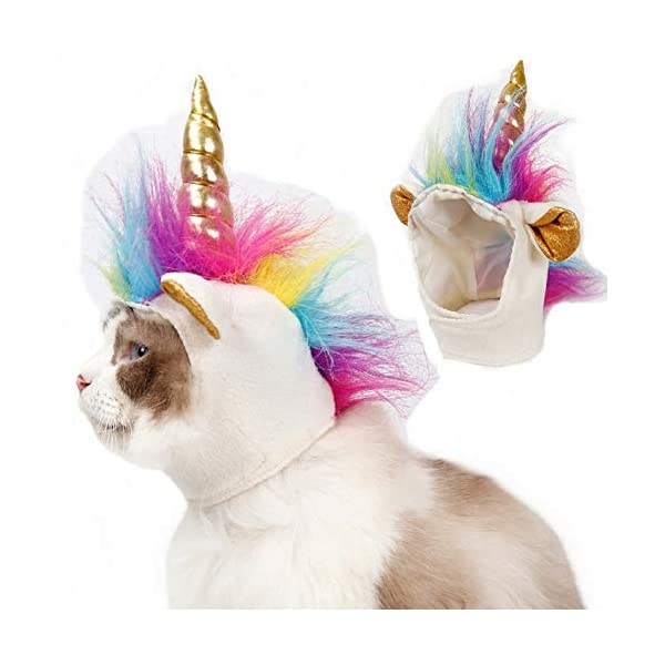 Stock Show Cat Unicorn Hat Unicorn Costume for Small Dog Cat Puppy Novel Funny Adjustabale Cosplay Mane Hat Headgear for… 3