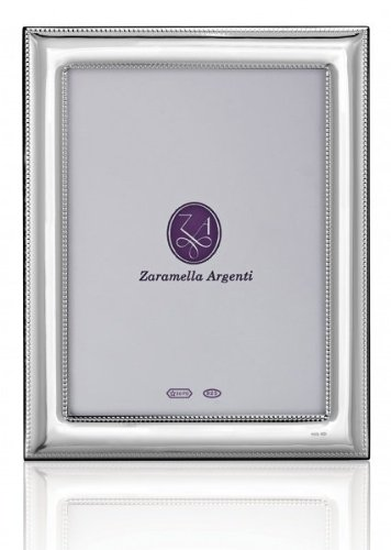 Luxurious ROME double-beaded border sterling silver 5x7 frame by Zaramella Argenti® Italy - 5x7