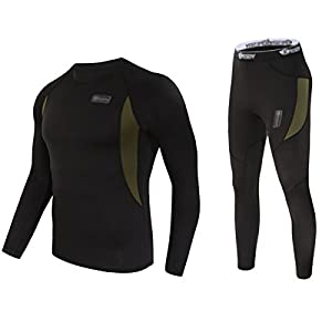 UNIQUEBELLA Men's Thermal Underwear Sets Top & Long Johns Fleece Sweat Quick Drying Thermo (XL, Black)