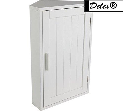 Delex® Excellent Quality 1 Door Wooden Corner White Bathroom Cabinet