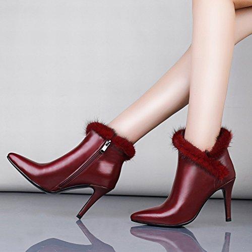 Des Pour Avec Station Fines Femmes Zh Bottes Vin Pointues Compteurs Rouge Européenne Chaussures Authentiques Grosses vdwYgZq