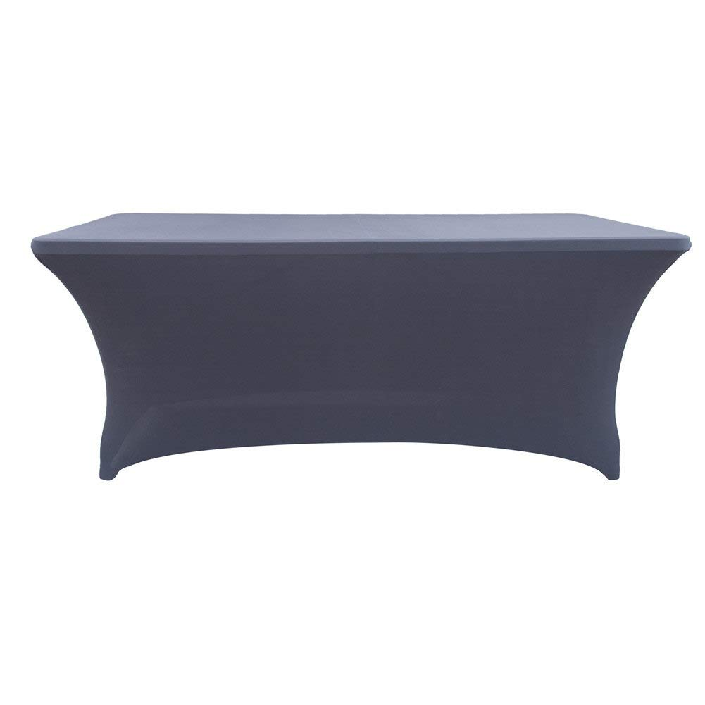 RemeeHi Stretch Table Set Tablecloth Rectangular Table Cover for 6 Ft Rectangular Tables Fitted Tablecloth for Standard Folding Tables Light Blue,48x23.6x30,14 oz