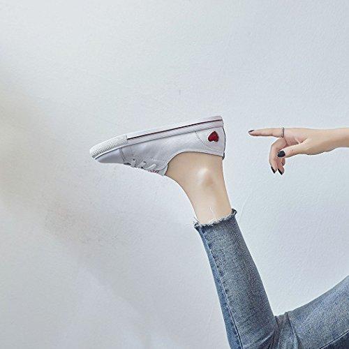 Donna da Morbido Sportive Bianche a Casual Uomo Piatte Fondo Scarpe Scarpe Moda Rosso Scarpe Testa Casual Tonda da HwzE1qxfS