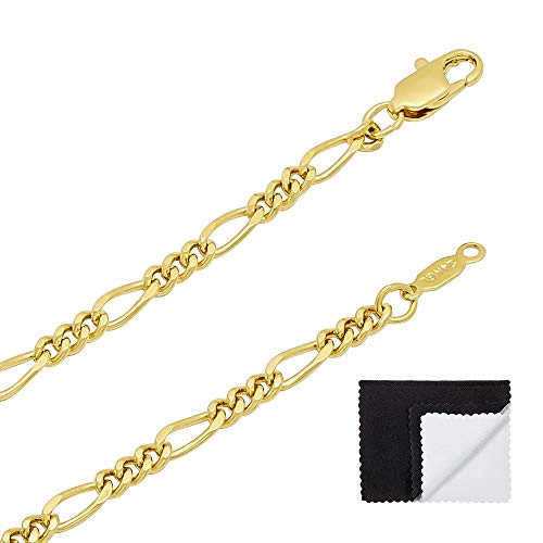 The Bling Factory 3mm 24K Gold Plated Figaro Link Chain + Microfiber Jewelry Polishing Cloth