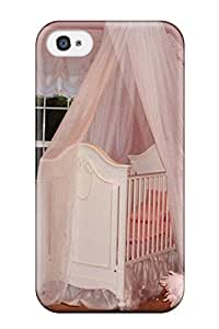 Iphone 4/4s Hard Back With Bumper Silicone Gel Tpu Case Cover Pink Princess Nursery With Silk Crib Canopy And White Accessories