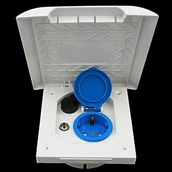 Toma de corriente multifunción exterior para autocaravana, 220 V, 230 V, antena satélite de 12 V, IP44, línea exclusiva