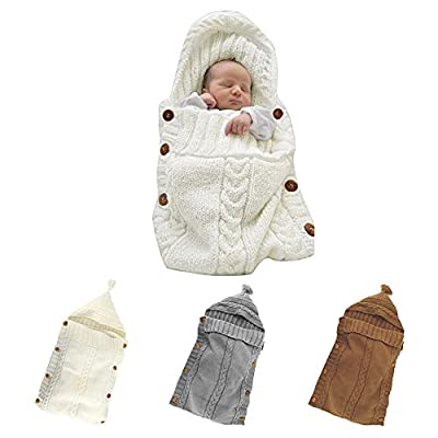 Colorful Newborn Baby Wrap Swaddle Blanket, JINSEY Baby Kids Toddler Wool Knit Blanket Swaddle Sleeping Bag Sleep Sack Stroller Wrap for 0-12 Month Baby