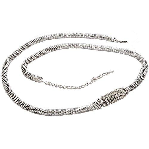 Silver Belt Chain Link Tone (Womens Belt Snake Shape Pendant Metallic Waist Chain Belt Silver Tone 32 Inch)