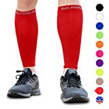 Calf Compression Sleeve - Leg Compression Socks for Shin Splint, Calf Pain Relief - Men, Women, and Runners - Calf Guard for Running, Cycling, Maternity, Travel, Nurses (Red, XL)