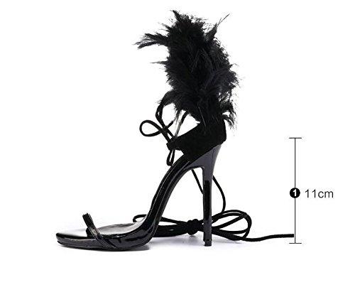 Zapatos de Tacón Cuerda Sexy de Pluma Alto Ximu 11 Black Bomba DE cm Verano Boda de Nueva Sandalias Corbata tSxqBv